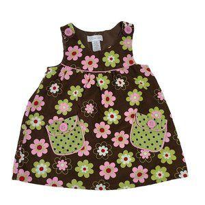 BONNIE JEAN Brown Floral Corduroy Jumper 3T